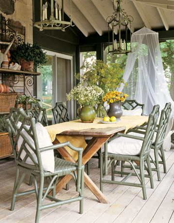 Porch in lovely greensCountry Cottages, Outdoor Porches, Outdoor Living, Rustic Tables, French Country, Outdoor Room, Picnics Tables, French Cottages, English Countryside