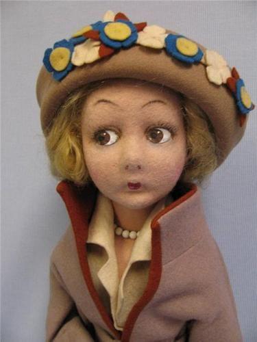 "24-1/2"" Antique LENCI Felt Doll c1925 FAD-ETTE Tall Slim LADY Original Suit, etc"