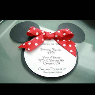 Minnie mouse invitation using Cricut and Mickey mouse cartridge