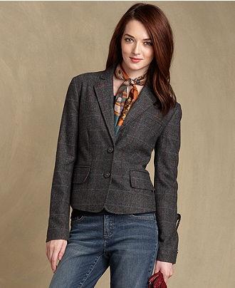 Tommy Hilfiger Blazer, Long-Sleeve Plaid Fitted - Womens Blazers - Macy's