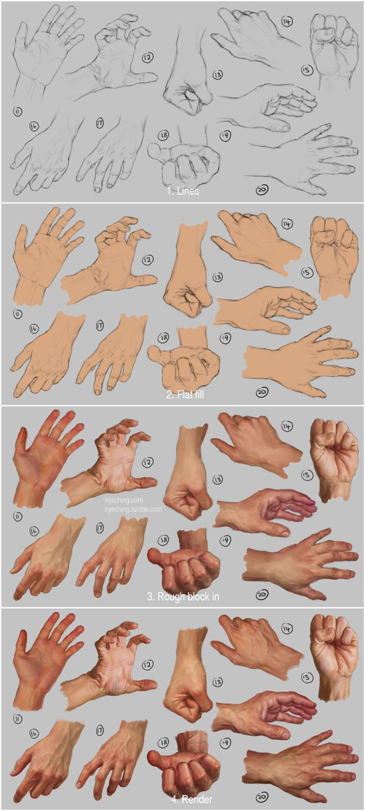 "art-tutorials-collection: "" Hand study 2 - Steps by irysching """