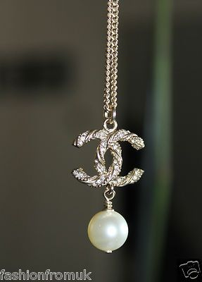 Chanel Gold CC Cristals Pearl Drop Long Chain Necklace