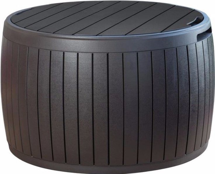 37 Gal. Resin Storage Circular Deck Box Contemporary Weather Resistant Patio #storage