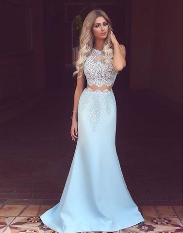 langes Abendkleid, zweiteiliges Abendkleid, hellblaues Abendkleid, billiges Abendkleid, …   – prom dresses