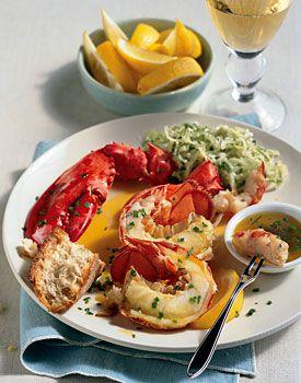 Steamed Lobster with Lemon-Herb Butter