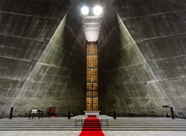St. Mary's Cathedral, by Kenzo Tange, Tokyo, Japan (1964 - hyperbolic concrete walls decades before computers)