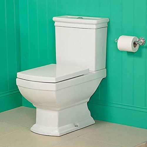 Traditional Square Toilet Close Coupled Pan Cistern and Soft Close Seat ; Top Fixing Quick Release Adjustable Fittings