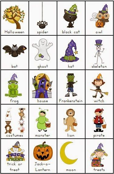 free halloween vocabulary chart the clever classroom halloween clipart freehalloween bingohalloween worksheetspreschool - Preschool Halloween Bingo