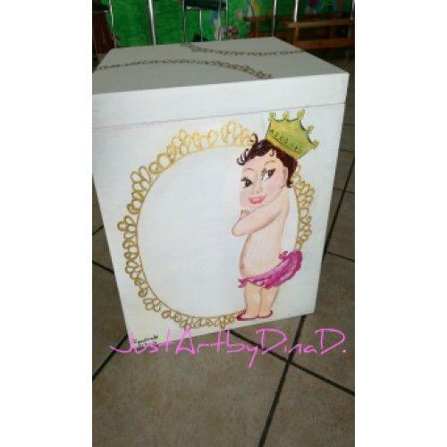 Ξυλινο ζωγραφισμένο κουτί βάφτισης  Μπέμπα
