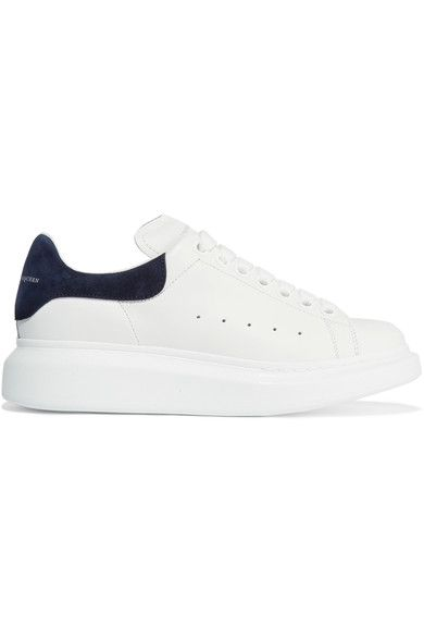 Alexander McQueen - Suede-trimmed Leather Exaggerated-sole Sneakers - White - IT37.5