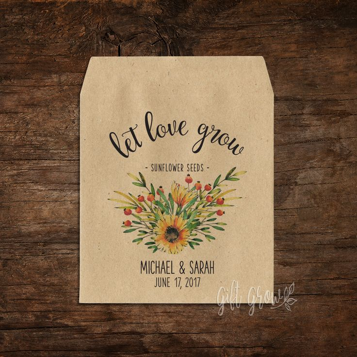 Sunflower Floral Bouquet Wedding Seed Packets