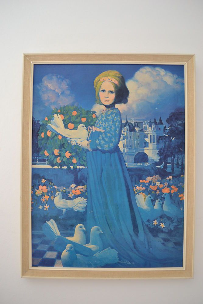 1960s michael johnson print blue lady with white doves uk original