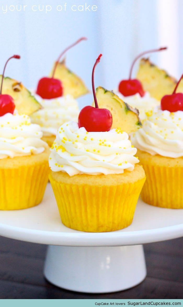 Pineapple Cream Cupcakes #cupcakes #cupcakeideas #cupcakerecipes #food #yummy #sweet #delicious #cupcake