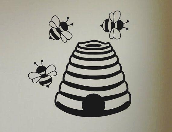 Decalcomanie da muro di vinile alveare ape alveare di VinyllyDone