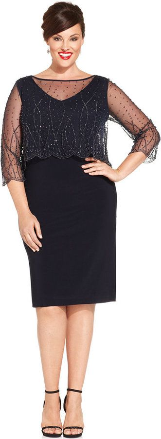 Patra Plus Size Embellished Popover Sheath