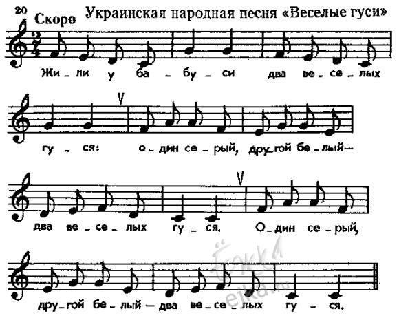 Два веселых гуся - русская народная песня, слова, ноты для фортепиано и гитары