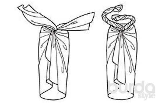 ТРАДИЦИОННОЕ ПАРЕО Парео уложить вокруг бедер, концы скрестить спереди (рисунок слева). Концы закрутить, туго натянуть (рисунок справа) и спрятать под край платка, уложенный по талии.