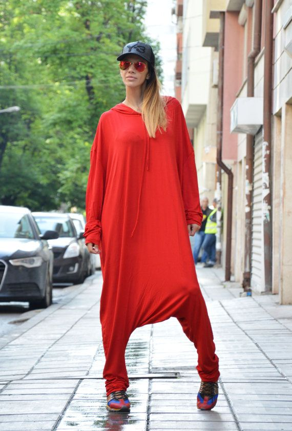 Red Viscose Jumpsuit / Extravagant Loose Jumpsuit by SSDfashion