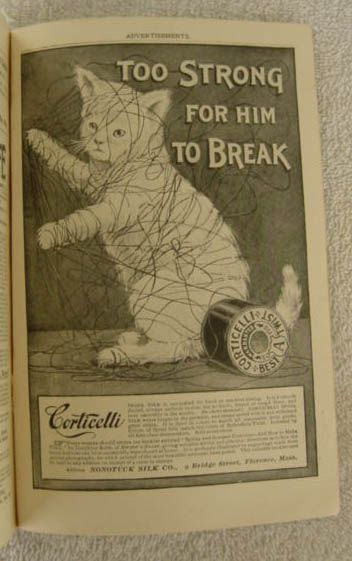 Cat lovers are sure to enjoy this Antique Ad For Corticelli Silk Thread. http://www.meowganizer.com