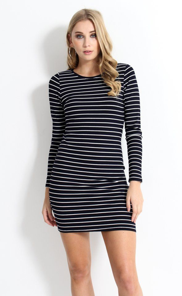 The Stripe Jersey Long Sleeve Dress is a forever piece and this one features an on-trend stripe in a comfortable stretch fabric.