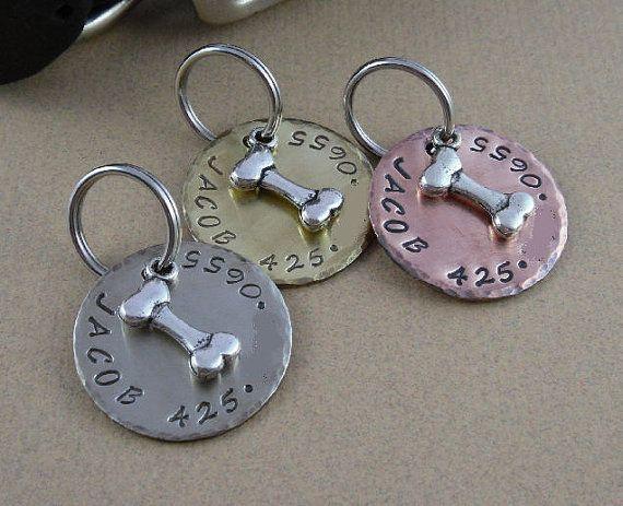 Silver Bone Dog Tag Copper Silver Nickel By