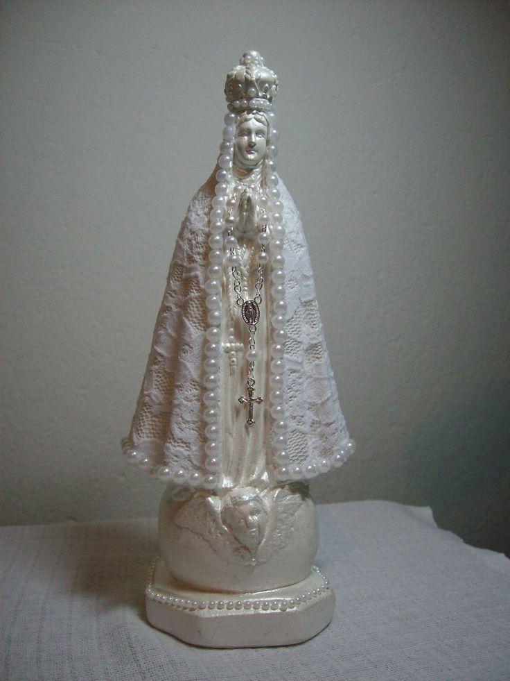 Nossa Senhora Aparecida -decoupage em renda e acabamento com pérolas by Michelarte