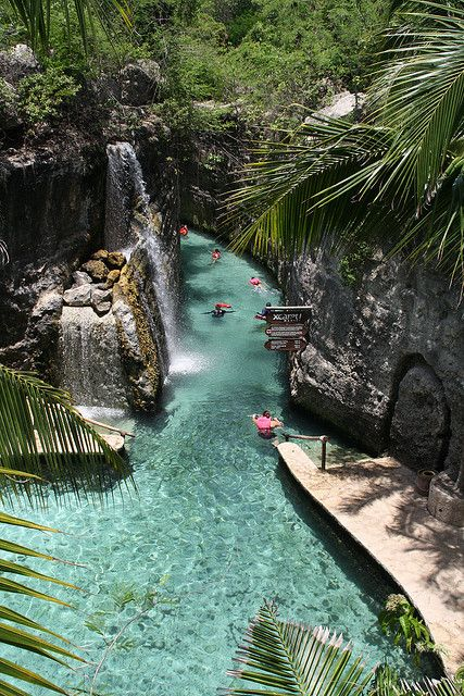 Floating down the river of Xcaret, Riviera Maya, Mexico >>> This really looks fun!