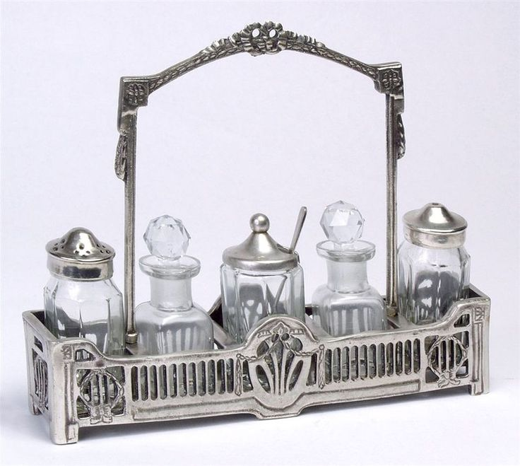Vintage Condiment Set | condiment set with tray in antique silver finish traditional condiment