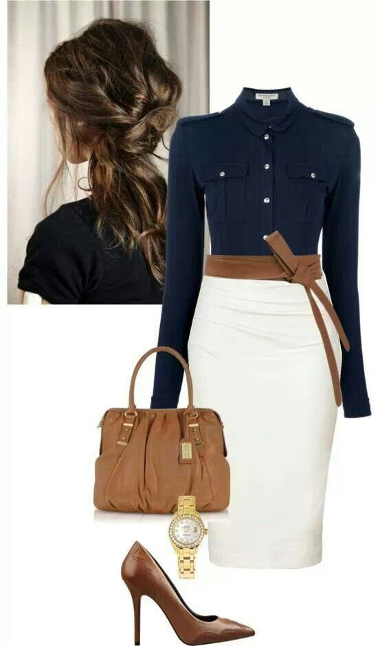 navy button down + white pencil skirt + heels/belt