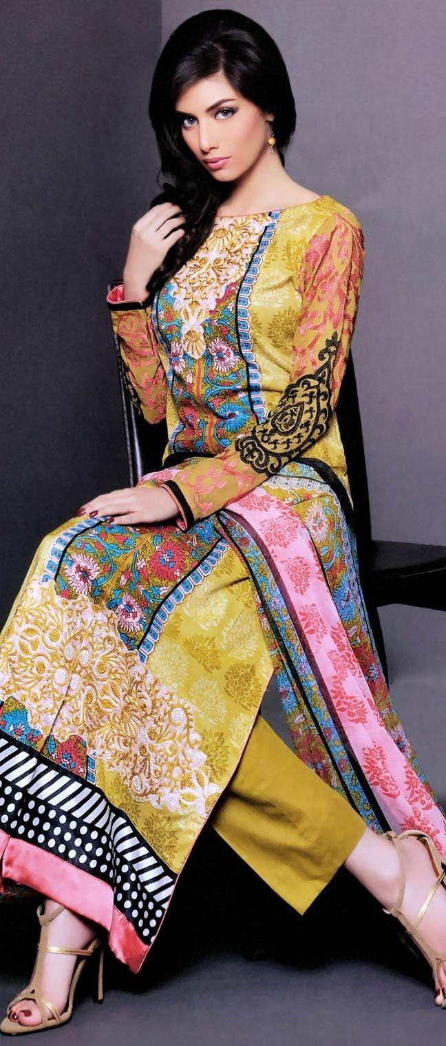 Lemon #Yellow Lawn #Cotton Salwar Suit @ US $93.46
