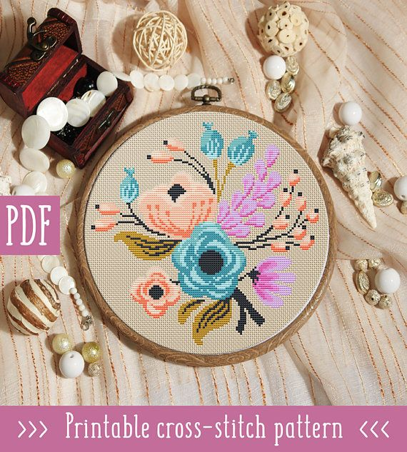 Spring Flowers Cross Stitch Pattern This pattern is an instant download PDF. Size: 110w x 108h stitches 14 count Cream Aida: approx. 7.86 x 7.71 inches or 19.96 x 19.59 cm Stitches Required: Full cross stitches Colors Required: 11 DMC floss colors PDF Included: - Pattern in color
