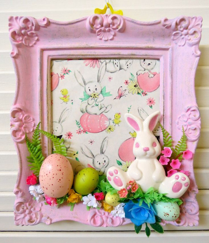 Springtime cheer!Here is a fun Easter/springtime decoration made with vintage and new materials!This whimsical vintage pink frame features vintage CUTE Easter paper, a vintage ceramic bunny...