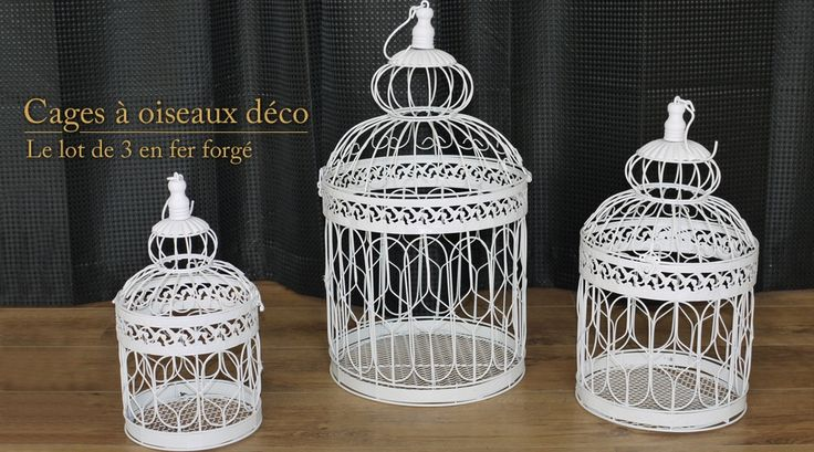 Lot de 3 cages oiseaux d coratives deco pinterest for Deco cage a oiseaux
