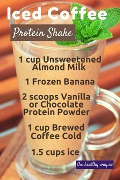 Healthy and Easy Iced Coffee Protein Shake Recipe for Weight Loss - Less Sugar - More Protein