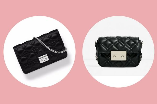 Miss Dior Promenade pouch (€1150 ) vs. Zara double look quilted mini crossbody bag (€25,95)