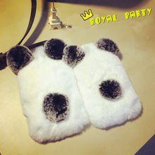 Para Sam S7/6/5 Luxo Top Quality Real Rex Pele De Coelho Urso Panda Cauda Da orelha Pele Bola De Pelúcia Peludo Caso Para iPhone4s 5SE 5S 6 s além de(China (Mainland))