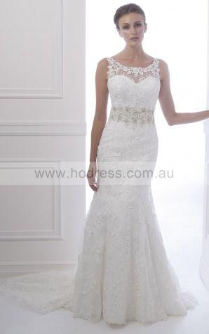 Sheath Scoop Empire Sleeveless Floor-length Wedding Dresses wds0052--Hodress