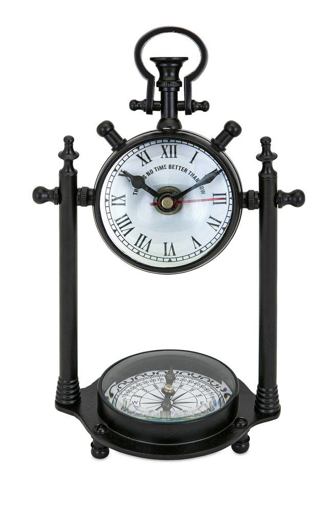 Inspired By A Vintage Heirloom This Metal Desktop Compass Clock Features Traditional Face And Base 10 Inch H X W BRASS
