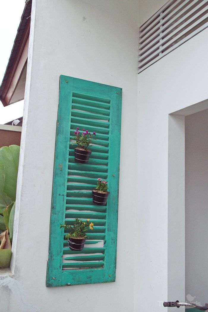 Hanging Planters Using Old Window Shutter