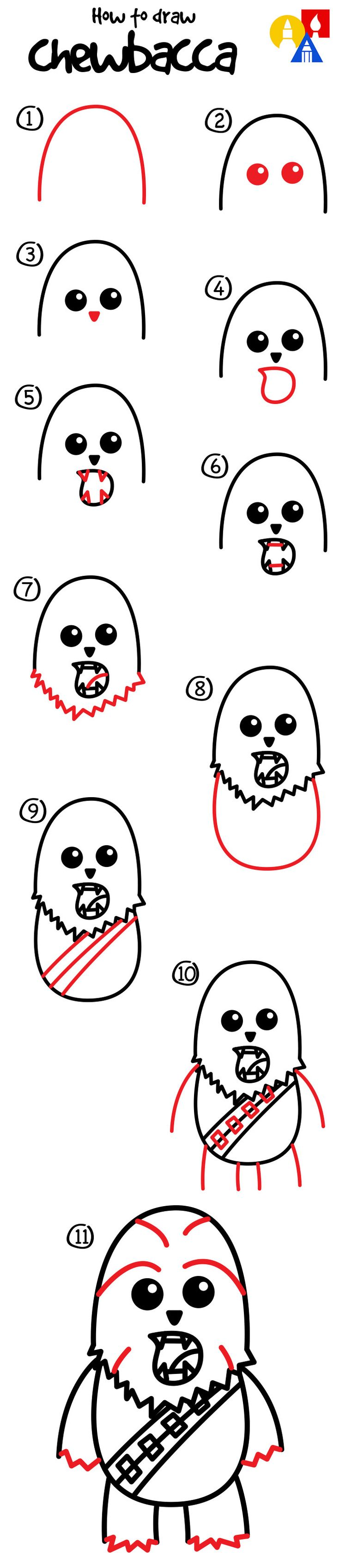 Learn how to draw a cartoon Chewbacca!