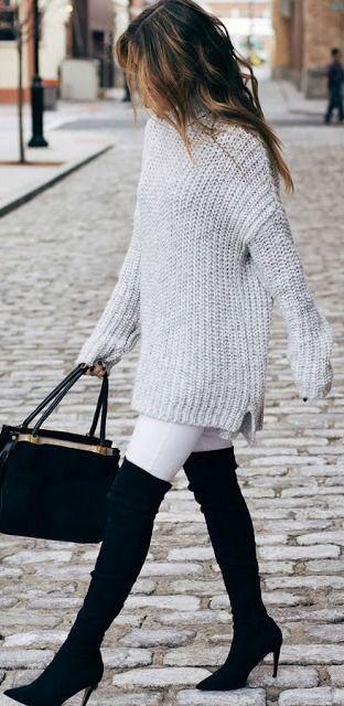 #winter #fashion / gray knit + OTK boots