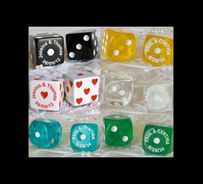 $3.25/pair | Wedding Dice Favors | 10 Dice Pairs minimum | Pair wedding dice with a velvet pouch or sheer organza favor bag to have an impressive party favor or gift keepsake. Match any wedding color scheme.    ♥ lasvegasweddingfavors lasvegaswedding