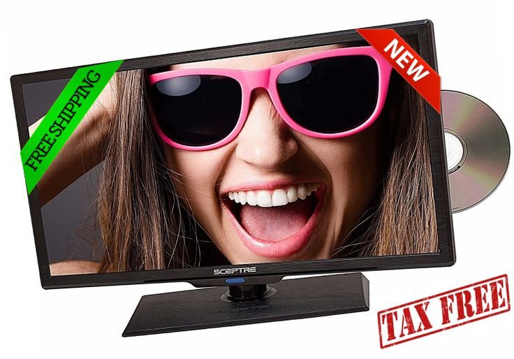 """TV HD with Built-in DVD Player Sceptre 19"""" LED 720P HDTV Flat Screen Monitor New #Sceptre"""