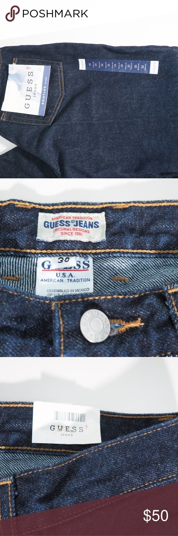 "Guess Jeans Bootleg 30Waist Dark Rinse Dark rinse women's jeans Guess. 060 bootleg low waist cut. 32"" inseam.100% cotton. New with tags. Excellent condition. Guess Jeans Boot Cut"