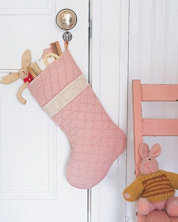 How to: Handmade stocking from an old quilt.Christmas Crafts, Vintage Quilt, Quilt Stockings, Christmas Sewing Projects, Baby Girls, Martha Stewart, Sewing Ideas, Christmas Stockings, Christmas Ideas