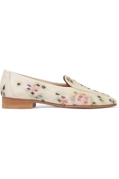 The Row - Adam Embroidered Raffia Loafers - Neutral - IT