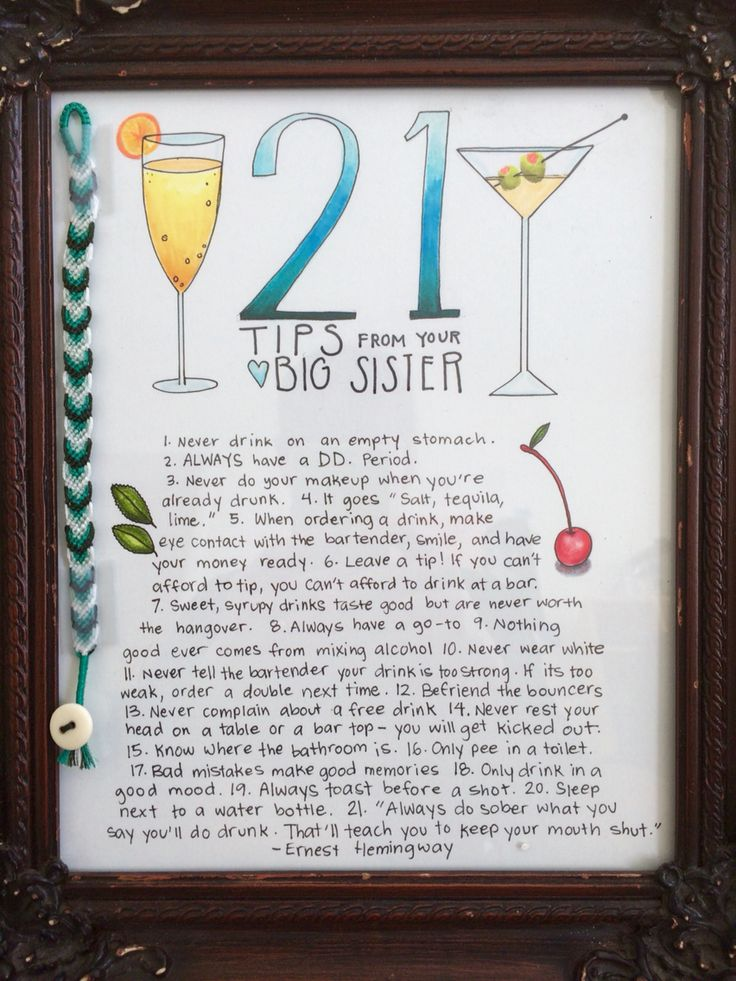 21st birthday homemade gift for little sister <3 by Elly Brinkerhoff