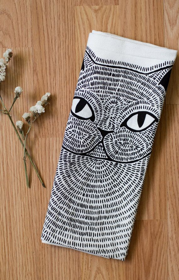 Persian Cat Tea Towel Printed with Eco Friendly Inks by Gingiber on etsy.com