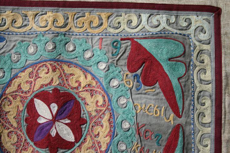 Панно - ручная старинная вышивка 1963 год