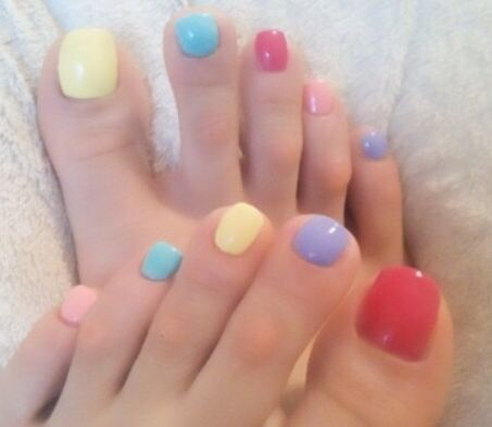 Spring colors, nails toes, uñas de pies!!! Primavera!!!